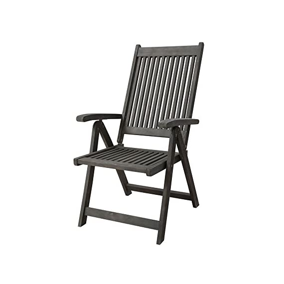 Vifah V1803 Renaissance Outdoor Patio 5-Position Reclining Chair, Hand-Scraped Wood - High back, slatted seat, with armrests, foldable, reclinable No cushion or pillows included 1 year warranty against manufacturing defects - patio-furniture, patio-chairs, patio - 41%2BaRoOUdEL. SS570  -