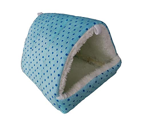 WOWOWMEOW Hamsters Polka Dot Warm Fleece Cave Bed Hanging Cage Hideout for Guinea-Pigs (L, Blue-Dots)
