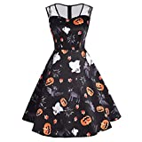 Zainafacai Women's Vintage Mesh Patchwork Printed Cocktail Party Wedding Gown Dresses (Black, S)