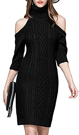 0f21604bdd bassg Stylish Women s Sexy Knitted Cold Shoulder Cowl Neck Sweater Dress  Pullover Tops