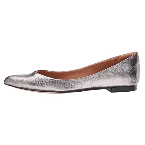 Opportunity Shoes - Corso Como Women's Julia Ballet Flat, Pewter Cracked Leather, 7 Medium US