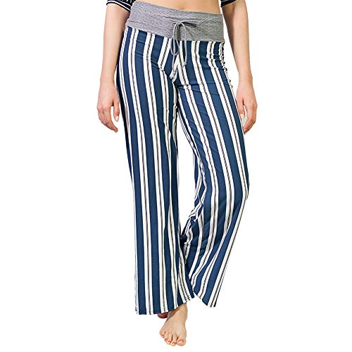- Buttery Soft Pajama Pants for Women - Floral Print Drawstring Casual Palazzo Lounge Pants Wide Leg for All Seasons (XX-Large, Stripe Blue)