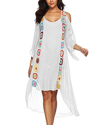 Kistore Women's Long Coverups Dress Cold Shoulder V Neck Crochet Bohemian Swimsuits Beach Cover Ups Cold Shoulder Swim Cover