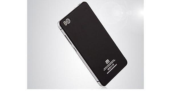 Elitetimes Funda Carcasa Trasera de Cristal Templado para Xiaomi MI4C Negra y Plata