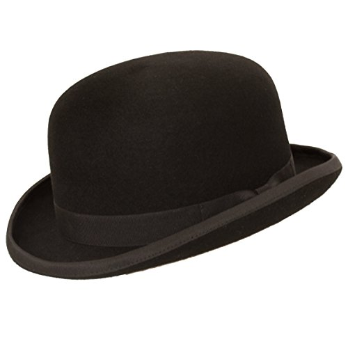 9th Street Fleming Firm Felt Derby Bowler Hat 100% Wool (Black, Large (fits 7 1/4 to 7 3/8))