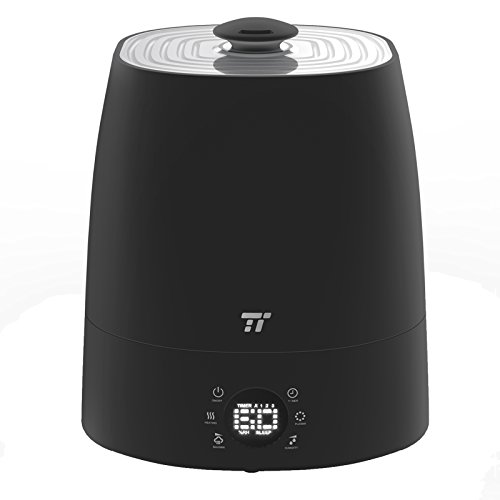 Warm & Cool Mist Humidifier, TaoTronics Ultrasonic Humidifiers for Bedroom, LED Display, External Humidity Sensor, 360° Rotatable Nozzle, Black Version - US 110V