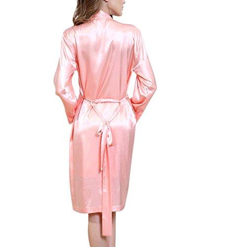 Donna Pigiama Robe Seta Pezzi Maniche Dress Sling Wear Primavera Da Autunno Estate Sexy In Maglia A A E Lunghe Pink Due Home rqqwTSxWt5