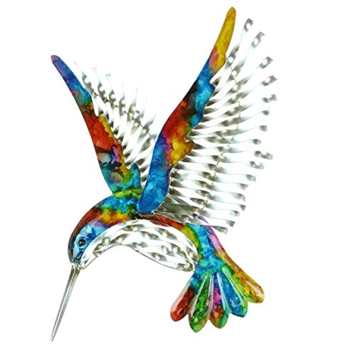 Widdop Colourful Wall Art Metal Hummingbird -Big Bird Plaque Sign - Home Garden Decor