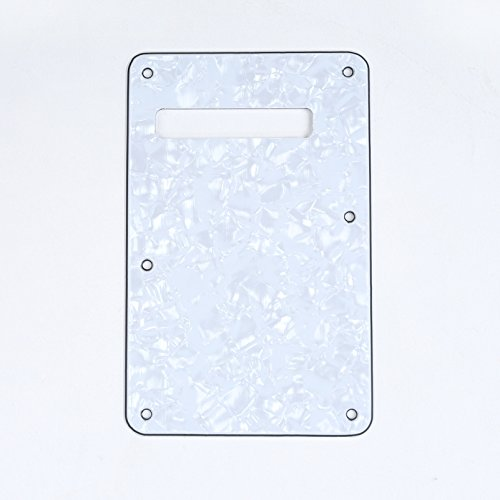 Pearl Genuine Fender - Musiclily 4Ply Strat Tremolo Cavity Cover Backplate for Fender Modern Style Electric Guitar,Pearl White