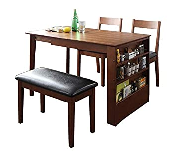 Amazonサイドに収納ラック付き 伸縮 ダイニングテーブル 4点セット