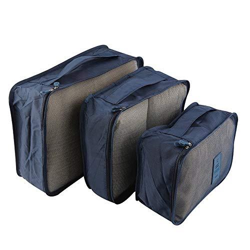 002-fr3 6pcs/Set Waterproof Clothes Storage Bag Packing Cube Travel Luggage Organizer Dark Blue