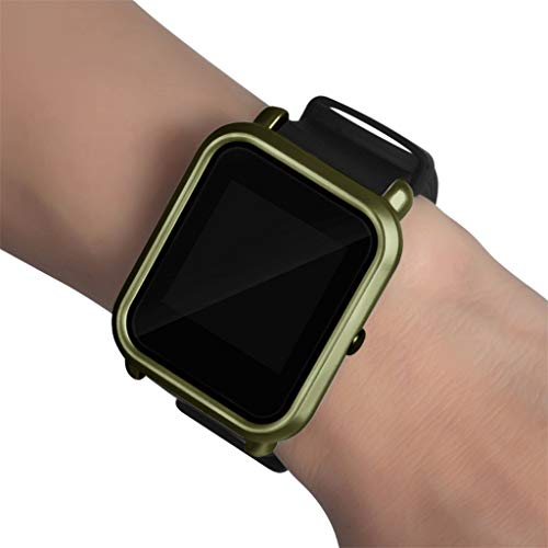 OUBAO PC Case Thin Cover Cover Protect Colorful Shell for Xia omi Huami Amaz fit Bip Youth Watch with Screen Protector (Army Green) by OUBAO (Image #5)