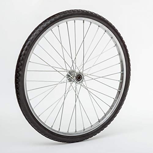 Lapp Wheels Flat Free Wire Spoke Wheel, Silver, Turf-Style Tread, Various Diameter/Bearing Sizes