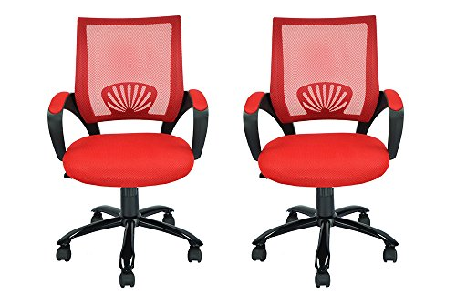 Mid Back Mesh ZLCih Ergonomic Computer Desk Office Chair, Red, 2 Pack by BestOffice