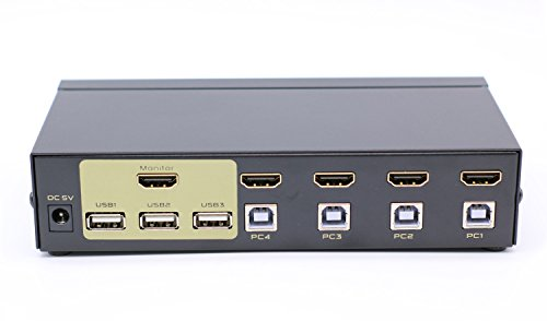 PC Hardware : FJGEAR 4 Ports USB 2.0 HDMI KVM Switch Keyboard Mouse Switcher for PC, Windows, MAC