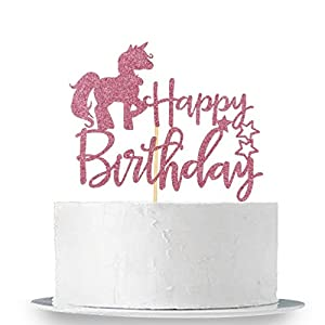 INNORU Unicorn Happy Birthday Cake Topper – Pink Glitter Cake Topper Birthday Party Decoration Supplies