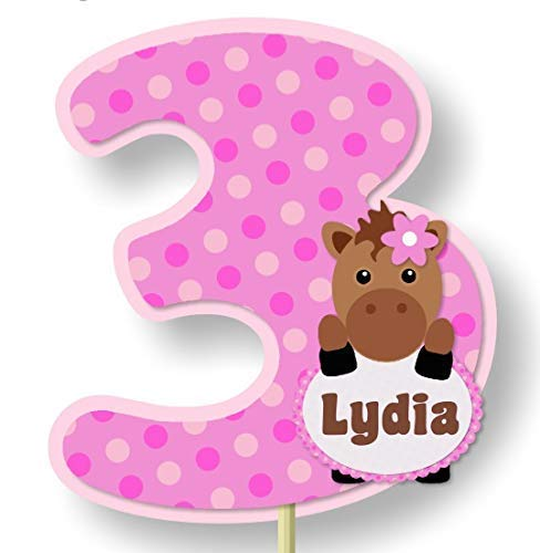 (Personalized Pink Girl Little Pony Horse Birthday Party or Baby Shower Cake Topper - Optional Decorations Invitations, Banner, Favor Tags, Thank You Cards - BCPCustom)