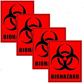 outdoor indoor 4 pack 5 x 4 biohazard biological hazard danger