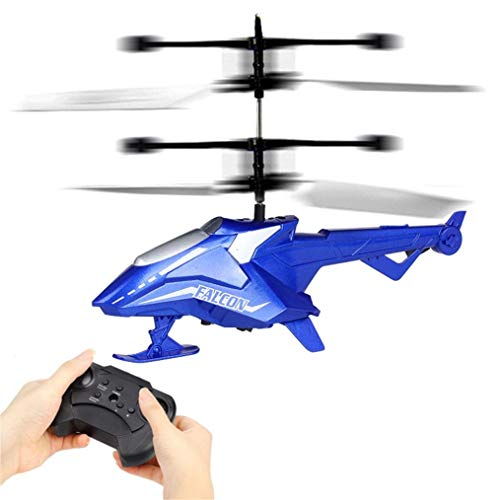 SUKEQ RC Toy, RC Flying Drone, RC Infrared Induction Remote Control Helicopter, 2CH Gyro Mini RC Helicopter Gifts Kids Adults (Blue)