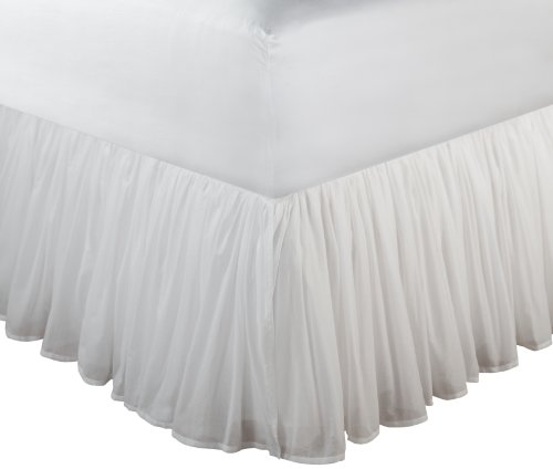 (Greenland Home Fashions Cotton Voile 18-Inch White Bed Skirt, Full)