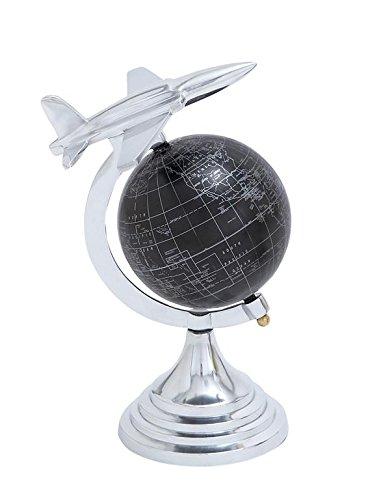 Deco 79 Aluminium Globe, 11 by 8-Inch, Gray -  Dec Mode Collection, 28350