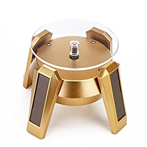 Solar Display Stand 360° Rotating Showcase Gold for Jewelry Phone Watch Turntable with LED Light