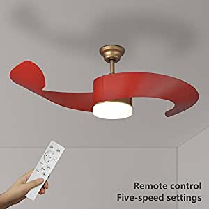 Natsen 52 led semi flush mount ceiling fan lighting with - Bedroom ceiling fans with remote control ...