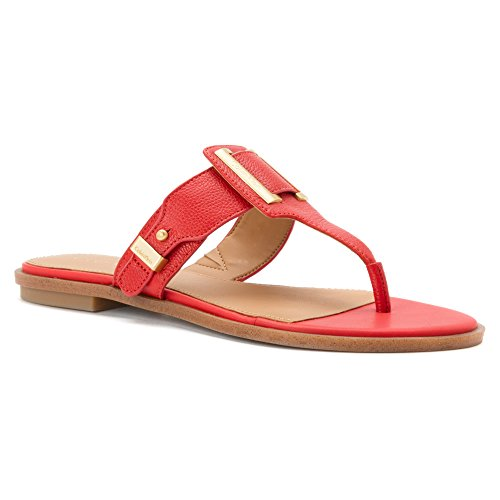 Calvin Klein Womens Ula Toe Ring Sandal Lacquer Red