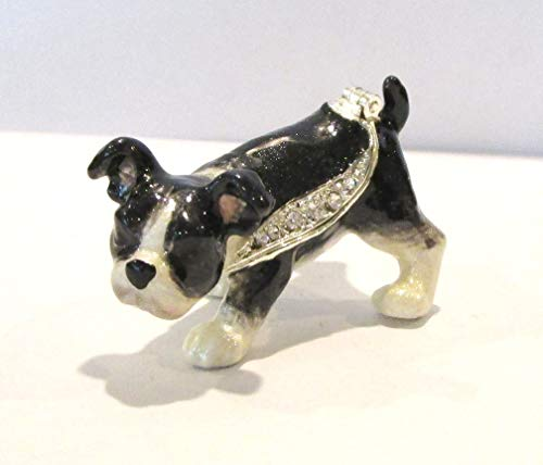 (Kingspoint Boston Terrier Puppy Dog Jeweled Enamel Trinket Box)