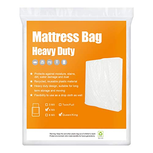 BYSURE 1-Pack 4 Mil Extra Thick Mattress Bag for Moving & Long Term Storage, 3D Envelope Shape Fits Queen/King Size