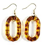 Style-ARThouse Lovely Loops, Tortoise Shell Pattern Earrings on Goldtone French Wires