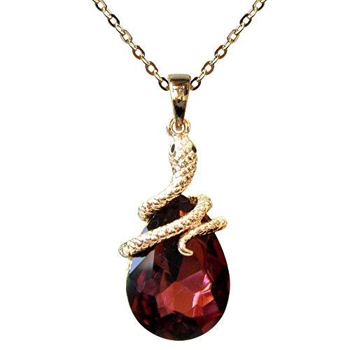 Navachi 18k Gold Plated Water Drop Crystal Purple Zircon Snake Az6034p Snake Pendant Necklace 16