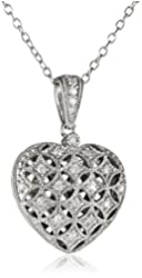 Sterling Silver and Diamond Heart Locket Pendant Necklace (0.14 cttw, G-H Color, I2-I3 Clarity), 18""