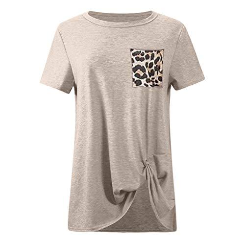 Corte Con Girocollo Blusa Magliette Leopardo Camicia Donna Elegante Cachi Bluse Manica Top Casual Abbigliamento Maglietta Beladla Stampa Corta Da Camicetta Felpe A Tops zvaxnw