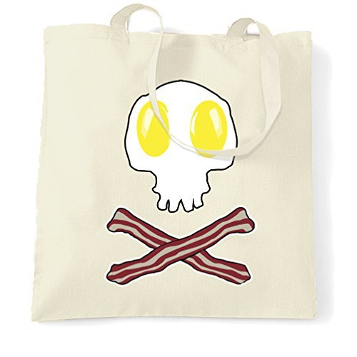 Tote Shopping Bag Gift Bacon And Eggs Skull & Cross Bones Gift Idea Logo Breakfast Skeleton Food Halloween Full Cooked Second English Toast Club Parody Printed Design Cool Printed Shopping -