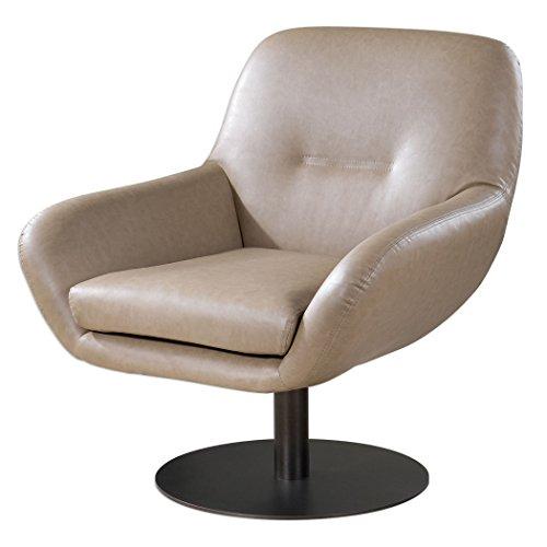 Art Deco Living Room Chair (Retro Contemporary Swivel Arm Chair | Art Deco Modern Beige Tan Elegant)