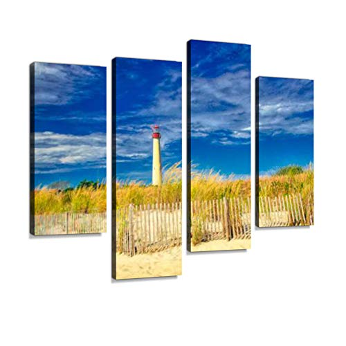Digital Art, Cape May Lighthouse New Jersey Canvas Wall Art Hanging Paintings Modern Artwork Abstract Picture Prints Home Decoration Gift Unique Designed Framed 4 Panel