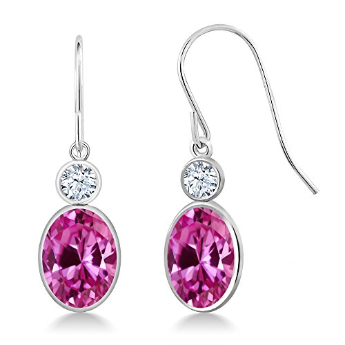 Pink Sapphire Earrings Oval (3.52 Ct Oval Pink Created Sapphire 14K White Gold Earrings)