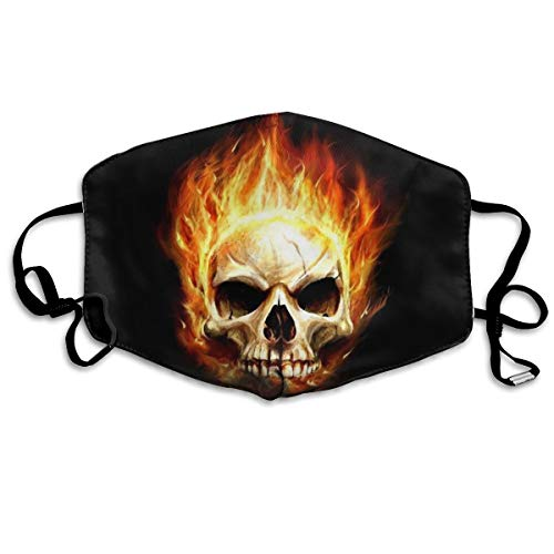 Flaming Skull Mask (HBLSHISHUAIGE Red Flaming Skull Unisex Fashion Mouth-Masks Washable Safety 100% Polyester Comfortable Breathable Health Anti-Dust Half Face)