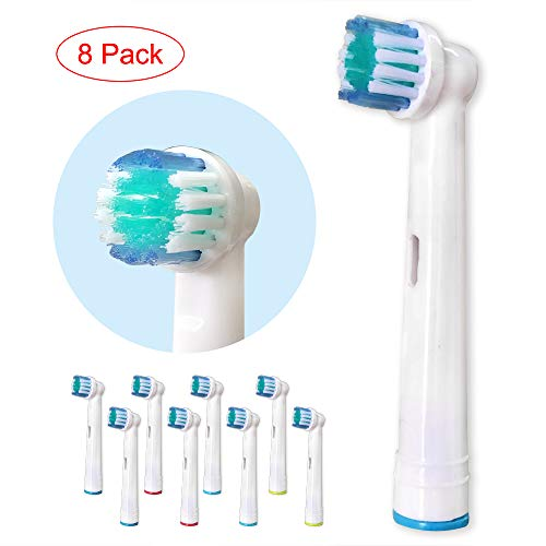 Compatible Electric Toothbrush Replacement Heads for Oral-B, 8 pcs Soft Bristle Brush Heads Refill