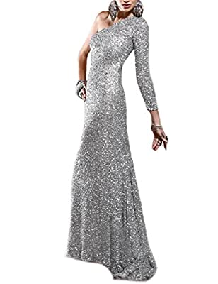 JoJoBridal Women's One Shoulder Sequined Long Prom Dresses Evening Gowns M133