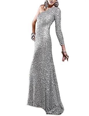 JoJoBridal Women's One Shoulder Sequined Long Prom Dresses Evening Gowns M133