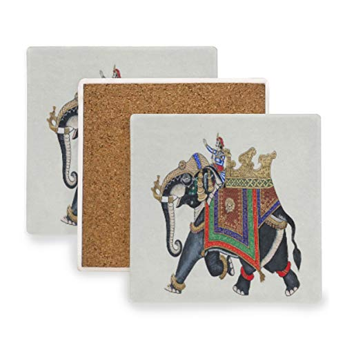 (Beautiful Elephant On The Wall Of City Palace Coasters, Prevent Furniture from Dirty and Scratched, Square Wood Coasters Set Suitable for Kinds of Mugs and Cups, Living Room Decorations Gift Set of 4)