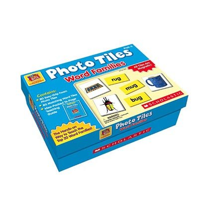Scholastic 9780439914253 Little Red Toolbox Photo Tiles Word Families Set