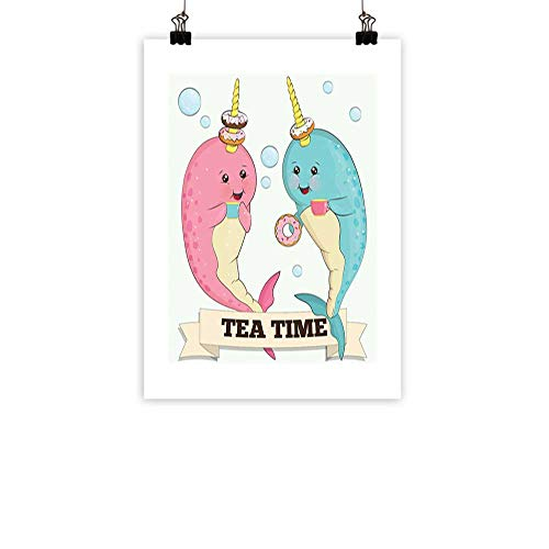 Narwhal Wall Art Decor Poster Painting Tea Drinking Whales Ocean Unicorn with Abstract Bubbles Backdrop Decorations Home DecorPale Blue Beige Pale Pink 20