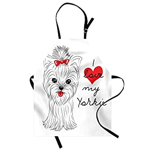 Ambesonne Yorkie Apron, I Love My Yorkie Terrier with Its Tounge Out Yorkshire Terrier, Unisex Kitchen Bib with Adjustable Neck for Cooking Gardening, Adult Size, Black White 29
