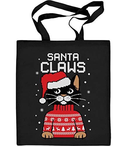 Natale Santa Babbo Sweater Bag Nero Shirtgeil Christmas Claws Ugly Gatto Tote AnxOSW
