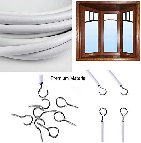 EASY TO USE Essential Net Curtain Wire Cord REAL ACCESSORIES White Curtain Wire 3m Long with 8 Hooks /& 8 Eyes Plastic Coated Net Curtain Wire for Hanging Curtain Pictures Clothes CUT TO SIZE