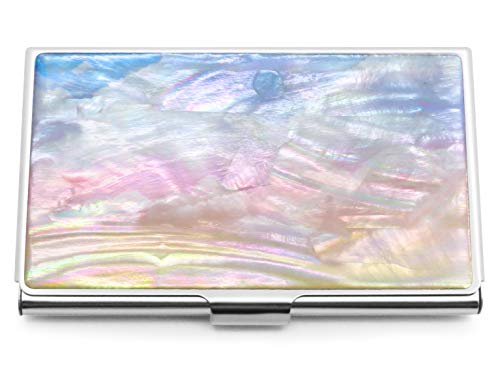 Business Card Holder Id Case Mini Wallet Mother of Pearl Cloud Blue Pink Yellow