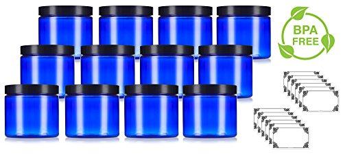 (Cobalt Blue Large 16 oz PET Plastic (BPA Free) Refillable Jar - (12 pack) + Labels)